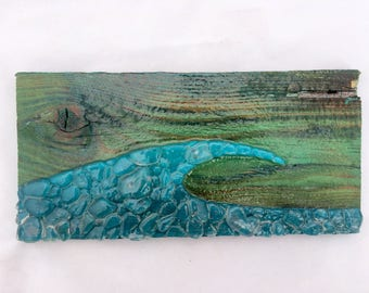 Sea glass art ocean wave art sea glass mosaic blue wave on repurposed wood surf art surf decor ocean art beach house decor