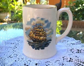 Sadler Beer Stein Made in England - Bucklers Hard - Galleon at Sea Transfer Print and Gilt Rim - Large China Mug