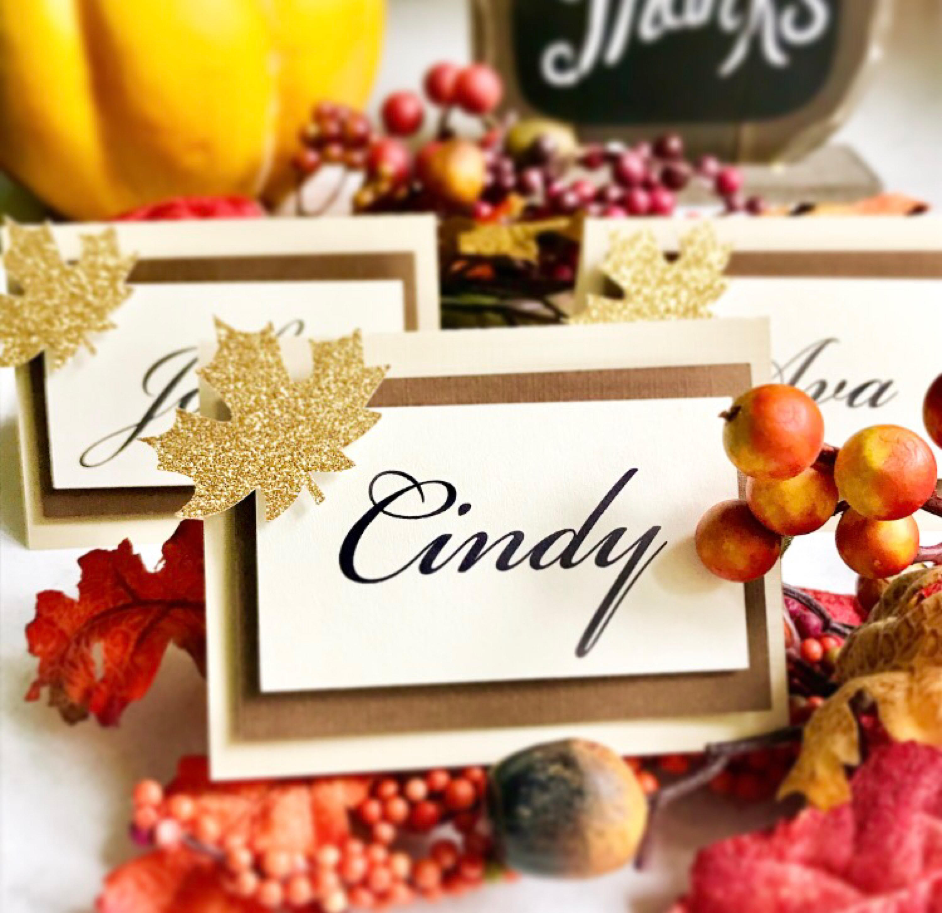 Fall Place Card Tent Cards Food Cards Happy Thanksgiving Fall Decorations Thanksgiving Dinner Seating Arrangement Name Cards Table Numbers