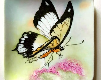 Hand painted Tiger Swallowtail Butterfly on porcelain plate.