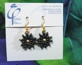 Suns of the Forest earrings - Czech glass beads handwoven with Swarovski pearls - J1849