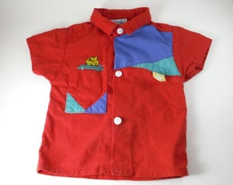 Vintage Toddler Trombone of London size S red Shirt buttoned Short Sleeves