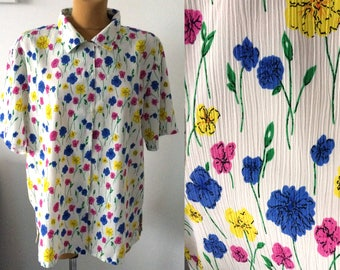 Vintage Damart Blouse Woman Shirt Top Colourful Button Down Flowers pink blue yellow UK 18