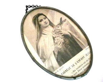 Small Vintage Saint Therese Wall Plaque
