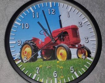 wall clock old Red Tractor pattern Pony