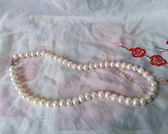 freshwater pearl,Large pearls, 7-8mm, white near round cultured freshwater pearls for making jewelry,  real natural pearls,