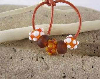 Orange Lampwork Glass Bead set