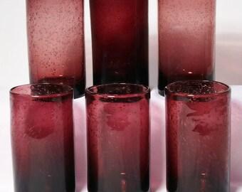 "Set of 6 Iris Bubble Glass High Ball Tumblers - Plum,Purple, Amethyst 5 3/4"""
