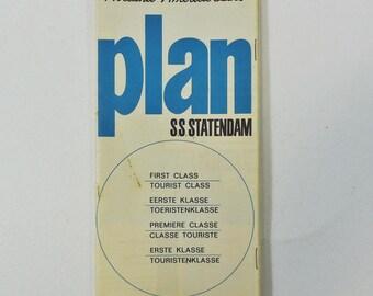 SS Statendam Holland America Line 1964 Deck Plan First Class Tourist Class