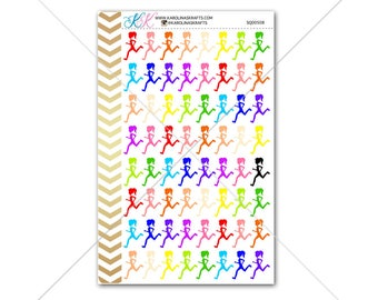 Running Stickers, Running Girl Silhouette for planner, calendar! Functional planner stickers, workout stickers, fitness stickers #SQ00508