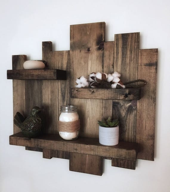 rustic wall shelf reclaimed wood wall shelf pallet shelf. Black Bedroom Furniture Sets. Home Design Ideas