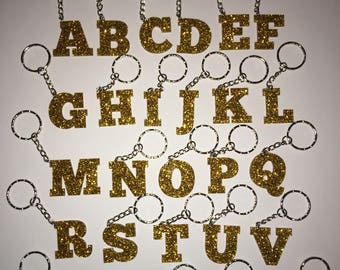 Gold glitter sparkle keyring personal gift idea keychain initial A-Z