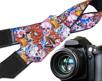 Sugar skulls camera strap with pocket. Skulls. Roses. Carps. Multicolor DSLR camera strap. Teens gift. Personalized camera strap.