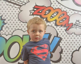 6ft.x6ft Superhero Says What?!? Vinyl Photography Backdrop- Photobooth Background