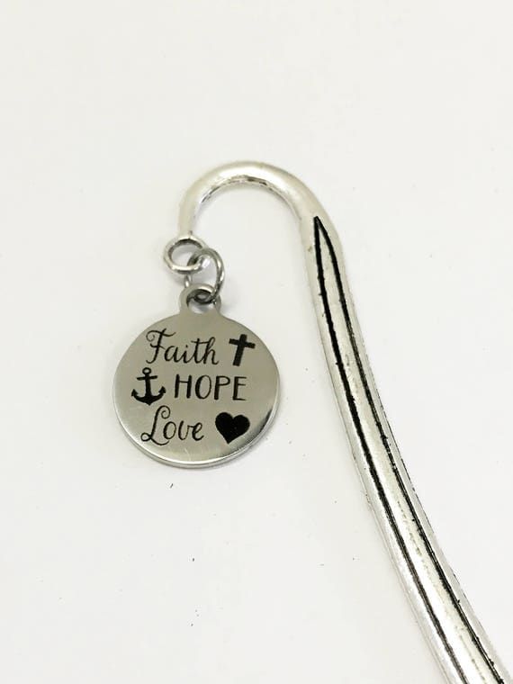 Faith Hope Love Bookmark, Reader Gifts, Bible Bookmark, Planner Accessories, Stocking Stuffers, Planner Bookmark, Christian Bookmark Gift