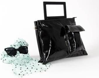 Black Leather Bag, Women Handbag, Laptop Bag, Leather Handbag, Shoulder Bag, Messenger Bag, Back to School, Trending Bag, Double Bag
