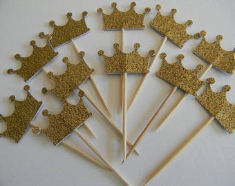 12 PC Gold Glitter Crown Cupcake Toppers