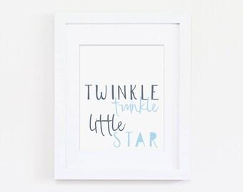 Twinkle Twinkle Little Star Nursery Art Print - Boys Nursery Art, Blue Nursery Decor, Navy Nursery - Children's Songs, Kids Bedroom Art