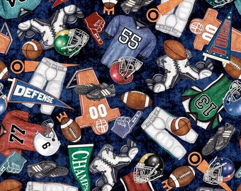 Everything Football Indigo Cotton Woven by Quilting Treasures