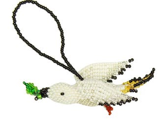 Hand-Beaded Dove of Peace Ornament