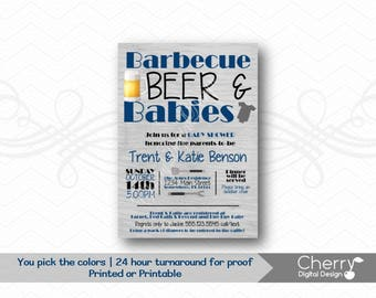 Barbecue, Beer & Babies Baby Shower Invitation.  Baby BBQ Printed or Printable Shower Invite.  Blue, Black and Gray BBQ Invite.  Barbeque