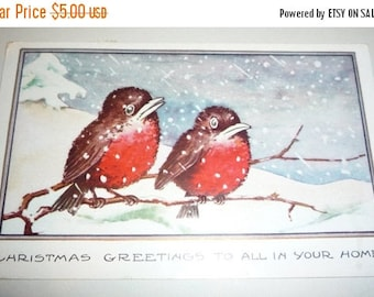 ON SALE till 7/28 Adorable Robins on Branch in the Snow Whitney Made Vintage Christmas Postcard