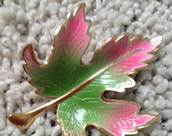 Gold Tone Leaf Brooch with Green and Pink