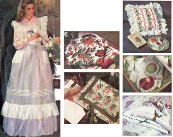 Victorian Ruffled Pinafore Bib Apron Pattern Sachets Pillows and Picture Frames Craft Pattern 1970s Sewing Pattern Vogue 1753 UNCUT
