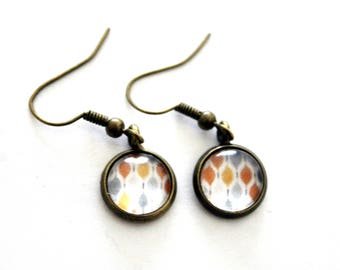 "Earrings cabochon ""pattern chart mod orange and gray""-retro bronze"