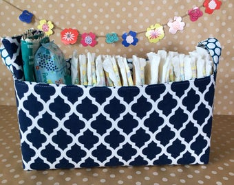 Diaper Storage Basket. Large Nursery Storage. Handmade Diaper Bin. Portable Diaper Storage. Fabric Storage Bin. Gift for Baby