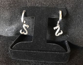 Authentic Sterling silver and diamond Jane Seymour earrings