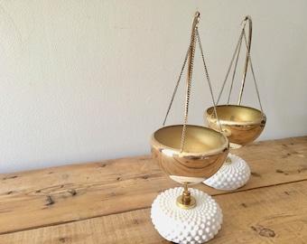 Crescent Moon Stand with Hobnail Milk Glass Base & Hanging Brass Colored Bowl - Candleholder / Succulent Planter/ Incense Burner, Free Ship