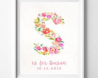 Monogram Alphabet Print, Baby Art, Baby Artwork, Children Room, Nursery Name, Susan, Sierra, Sandra, Sharon, Sadie, Valentines Day Gift