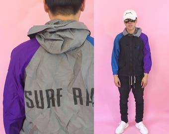 Vintage windbreaker jacket hoodie windbreaker colorblock jacket 1990s 1980s 90s 80s surfer surfing