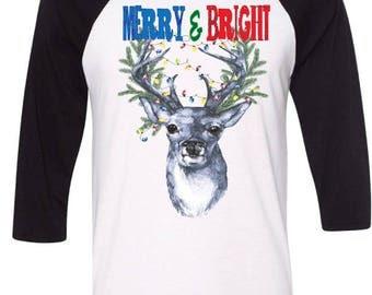 Merry and Bright Shirt,Deer Antler Christmas Lights 3/4 sleeve Tshirt,Holiday Baseball Shirt,Christmas Raglan, Funny Adult Shirt,Deer Shirts