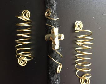 Gold Coil Locs Jewelry Gold Spiral & Gold Cross Set of 3 Dreadlock Cuffs Hair Jewelry Braids Dread Jewelry Sisterlocs Dreads Loc Jewelry