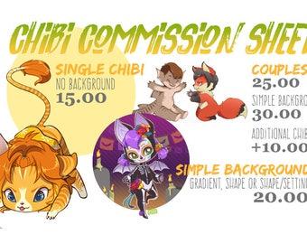 Custom Chibi Commission -- DIGITAL DRAWING / Illustration / Personalized / OC / Original Character / Art Request
