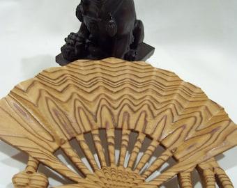 Asian Wood Fan Grain Is Textured Asian Wall Decor Oriental Wall Hanging  Open Fan With Tassels
