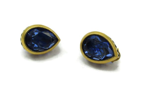 YSL Yves Saint Laurent Blue Teardrop Rhinestone Gold Clip Earrings Designer Signed Vintage Costume Jewelry Gifts High End