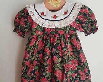 Vintage berry accented toddler dress. Made in Canada. Little Princess Brand approx size 18 months