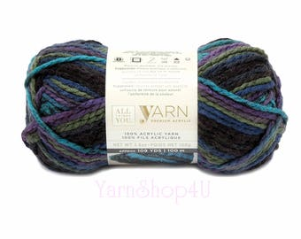 NORTHERN LIGHTS Ombre. All Things You Premium Acrylic Bulky Yarn. Dark Ombre with Blue, Purple and Green. A favorite! Same as Charisma Brand