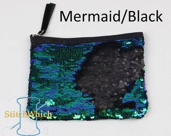 Mermaid & Black Reversible Sequin Clutch