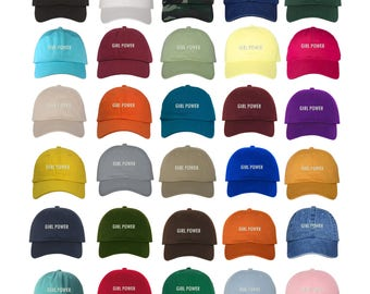 """GIRL POWER Dad Hat, Embroidered """"Girl Power"""" Feminism Hat, Low Profile Feminist Girl Gang Baseball Cap Hats, Many Colors Available"""