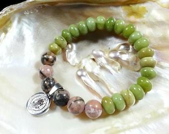 Saint Benedict Bracelet -Taiwan Jade & Rhodonite Bracelet, 8mm, Stainless Steel Saint Benedict, Religious Bracelet, Protection Bracelet