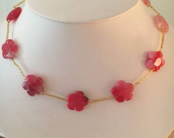 Pink Agate Flower Necklace