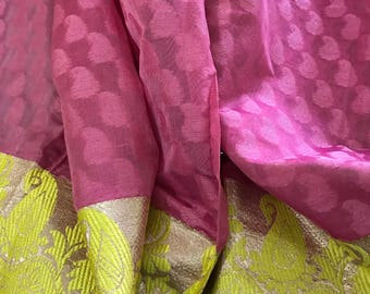 30% OFF Indian Chanderi Silk brocade fabric with floral pattern, dress fabric, fancy fabric, Indian silk, brocade fabric by yard