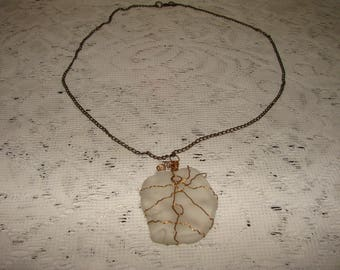 Handmade Wired Clear Sea Glass Pendant Necklace On A Bronze Chain