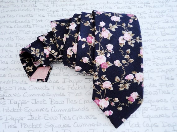 Floral neck tie, pink roses on a navy background, wedding tie
