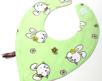 Green bib, Bunny bib, Rabbit bib, Baby bib, Baby Bandana Bib, Girl Bandana,  Bib Drool, Bandana Bib, Newborn Gifts