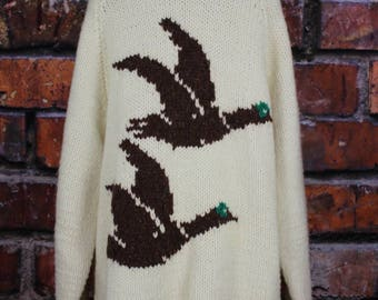 Vintage Curling Sweater with Geese or Ducks